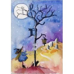 Art Print: pimental's Halloween Graveyard Black Cat Keep Out, 24x18in.