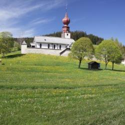 Poster: Lange's Wehrkirche Church, Urach, Urachtal Valley in Spring, B