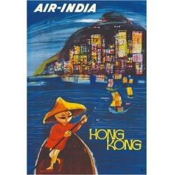 Giclee Painting: Cowasji's Hong Kong Maharaja - Air India, 44x30in.