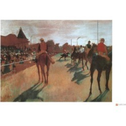 Giclee Painting: Degas' Race Horses in Front of the Grandstand, 11x17i