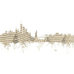 Art Print: Tompsett's New York Skyline Sheet Music, 24x16in.