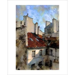 Giclee Painting: Hugo's Red Roof in Paris, France, 20x16in.