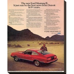 Stretched Canvas Print: 1974 Mustang II Best News, 15x12in.