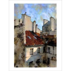 Giclee Painting: Hugo's Red Roof in Paris, France, 40x30in.