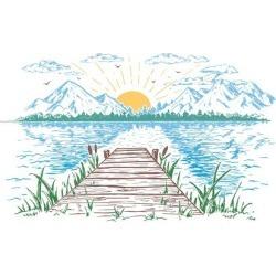 Art Print: Rising Sun on the Lake, Landscape with a Bridge. Hand-Drawn