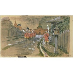 Giclee Painting: Ryabushkin's Strelets Patrol at the Ilyinsky Gates in
