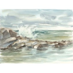 Stretched Canvas Print: Harper's Coastal Watercolor IV, 24x18in. found on Bargain Bro Philippines from Allposters.com for $156.99