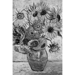 Poster: Vincent Van Gogh Vase Twelve Sunflowers Black White Art Print found on Bargain Bro from Allposters.com for USD $7.59