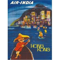 Giclee Painting: Cowasji's Hong Kong Maharaja - Air India, 20x16in.