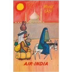 Giclee Painting: Cowasji's Middle East - Air India - Maharaja with Bur