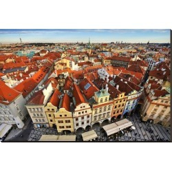 Stretched Canvas Print: Red Roofed Houses in Prague, 36x54in.