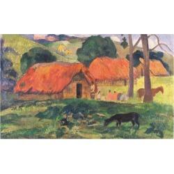 Giclee Painting: Gauguin's Village in Tahiti, 24x18in.