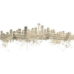 Art Print: Tompsett's Seattle Washington Skyline Sheet Music Cityscape