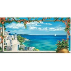 Giclee Painting: Dominguez's Village in Greece, 32x60in.