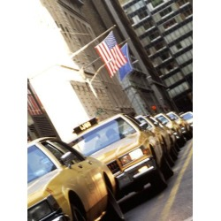 Poster: Bachmann's Line of Taxi Cabs in New York City, New York, USA,