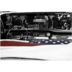 Poster: American Flag in Convertible, 13x19in.