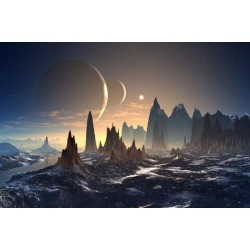 Art Print: diversepixel's Alien Planet with Two Moons, 24x16in.