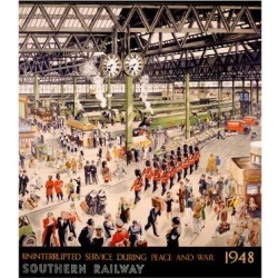 Giclee Painting: Southern Railway Train Station, 44x32in.