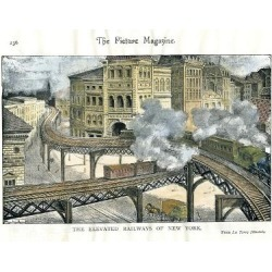 Giclee Painting: Elevated Railway in New York, from the Picture Magazi