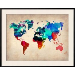 Framed Art Print: World Map in Watercolor, 30x38in.