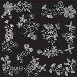 Art Print: Pueblo's Chalk Style Hand Drawn Flowers, 12x12in.