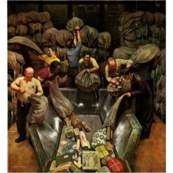 """Giclee Painting: Falter's """"Post Office Sorting Room,"""" December 8, 1945"""