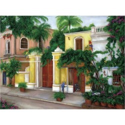 Giclee Painting: Lou's Hacienda Parrots, 24x18in.