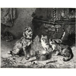 Giclee Painting: Patience, Dog and Cats Dinner, 24x18in. found on Bargain Bro India from Allposters.com for $27.99