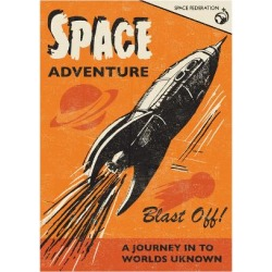 Giclee Painting: Rocket 68's Space Adventure, 24x18in.
