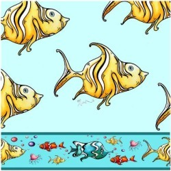 Giclee Painting: Aroon Duncanson's Angel Fish with Fish Border, 16x16i