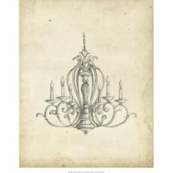 Giclee Painting: Harper's Art Print: Classical Chandelier Art Print by