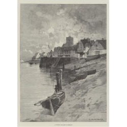 Giclee Painting: Loye's A Fishing Village in Brittany, 24x18in.