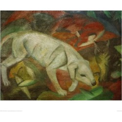 Giclee Painting: Marc's Dog, cat, fox, 20x28in.