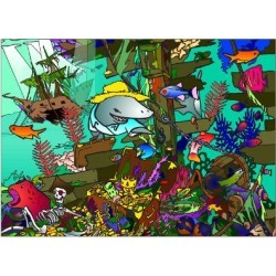 Giclee Painting: Green's Underwater Shark, 24x18in.