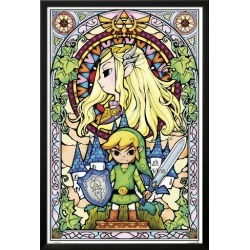 Framed Poster: The Legend of Zelda- Stained Glass, 38x26in.