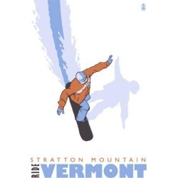 Art Print: Stratton Mountain, Vermont, Stylized Snowboarder by Lantern Press: 24x18in found on Bargain Bro India from Art.com for $35.00
