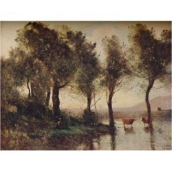 Giclee Print: 'L'Etang', (The Ponds), 19th century, (1910) by Jean-Baptiste-Camille Corot: 24x18in