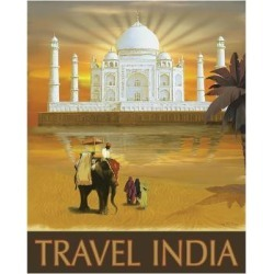 Art Print: Travel India by Kem Mcnair: 14x11in