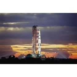 Photographic Print: Apollo 17 and Launch Pad with Sunrise: 24x16in