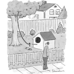 Premium Giclee Print: Man walks by a large dog house sized, bird house with a leash leading up i… - New Yorker Cartoon by Danny Shanahan: 12x9in