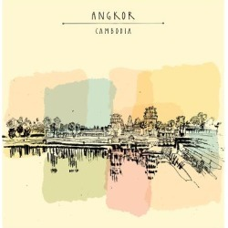 Art Print: Angkor Wat, Cambodia. Hindu / Buddhist Temple Complex. the Largest Religious Monument in the World. by babayuka: 12x12in