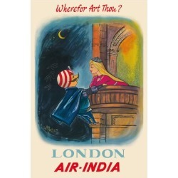Giclee Print: London, England - Wherefor Art Thou? - Maharajah Mascot Romeo - Air India by Pacifica Island Art: 44x30in
