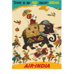 Premium Giclee Print: Air India - There is an Air about India - Maharaja in Howdah (Carriage) on Regal Elephant: 16x12in