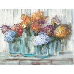 Art Print: Fall Hydrangeas In Glass Jar by Wild Apple Portfolio: 30x40in