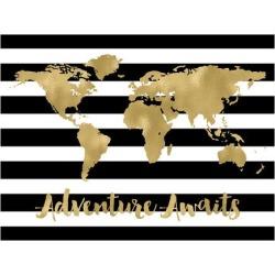 Art Print: World Map Black White Stripe Adventure Awaits by Amy Brinkman: 12x16in