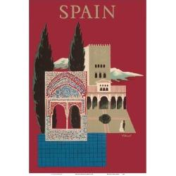 Art Print: Spain - Spanish Mosaic Building by Bernard Villemot: 19x13in