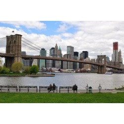 Photographic Print: View of Manhattan and Brooklyn Bridge from a Park in Brooklyn with Park Goers on the Benches. by SeanPavonePhoto: 24x16in