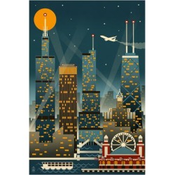 Art Print: Chicago Illinois - Retro Skyline (no text) - Lantern Press Original Poster by Lantern Press: 24x16in