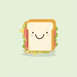 Art Print: Sandwich Cartoon Vector Illustration by metsi: 12x12in