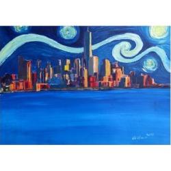 Art Print: Starry Night in New York City Manhattan Skyline by Markus Bleichner: 24x16in